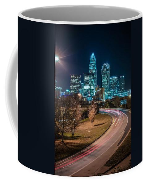 2012 Coffee Mug featuring the photograph Charlotte City Skyline Night Scene by Alex Grichenko