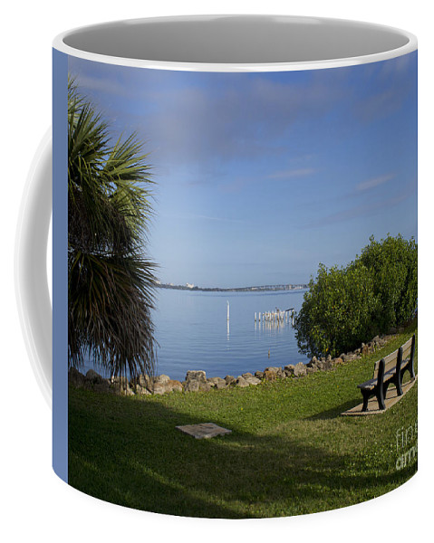 Florida Coffee Mug featuring the photograph Melbourne Beach Pier In Florida by Allan Hughes