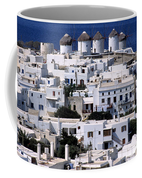 Mykonos; Mikonos; Town; City; Chora; Hora; Greece; Hellas; Cyclades; Kyklades; Greek; Hellenic; Aegean; Island; Windmill; Windmills; House; Houses; White; View; Overview; Holidays; Vacation; Travel; Trip; Voyage; Journey; Tourism; Touristic; Summer; Sunny; Islands Coffee Mug featuring the photograph Mykonos Town by George Atsametakis