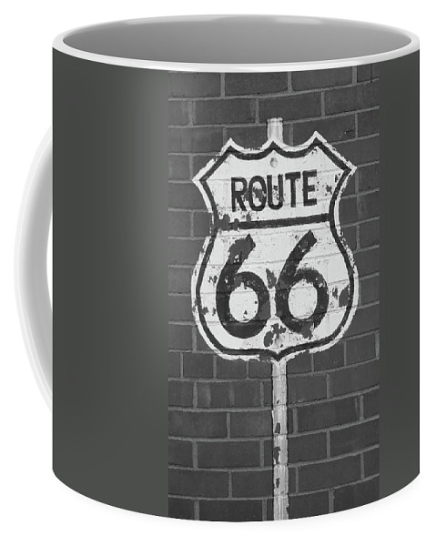 66 Coffee Mug featuring the photograph Route 66 Shield by Frank Romeo