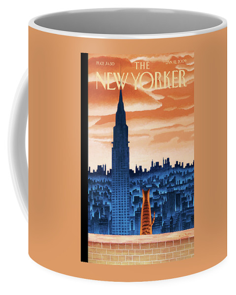 Nyc Coffee Mug featuring the painting New Yorker January 12th, 2009 by Mark Ulriksen