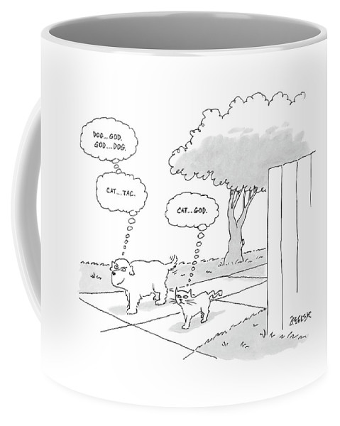 Dogs Cats Thinking Vanity Ego   (dog And Cat Walking Together. Dog Thinks To Himself Coffee Mug featuring the drawing New Yorker April 3rd, 2006 by Jack Ziegler