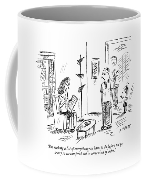 Vacations Leisure Problems Relationships Relaxation  (woman Talking To Her Husband About Vacation Plans.) 121208 Dsi David Sipress Coffee Mug featuring the drawing I'm Making A List Of Everything by David Sipress