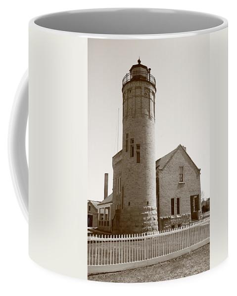 America Coffee Mug featuring the photograph Lighthouse - Mackinac Point Michigan by Frank Romeo