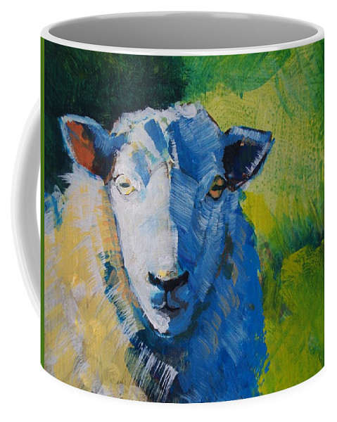 Sheep Coffee Mug featuring the painting Sheep by Mike Jory