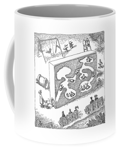 Chilren Games   (kids Playing In A Large Child-size Ant-farm.) 120538 Job John O'brien Coffee Mug featuring the drawing New Yorker February 14th, 2005 by John O'Brien