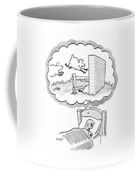 Incompetents Dreams Domestic Animals  (crash Test Dummy Counting Sheep As They Jump Over A Fence And Crash Into A Brick Wall.) 121699 Rle Robert Leighton Coffee Mug featuring the drawing New Yorker December 12th, 2005 by Robert Leighton