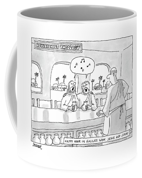 Religion The Bible Ancient History  (jesus And Judas Singing In A Bar.) 122244 Jzi Jack Ziegler Coffee Mug featuring the drawing Revisionist Theology Happy Hour In Galilee by Jack Ziegler
