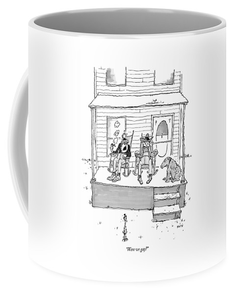 West Sex Entertainment Movies Western Gay Retire Retirement Confused Question Sexuality Discuss Ponder Dog Rocking Chair  (one Old Cowboy Talking To Another. ) 121814 Gbo George Booth Topbooth Coffee Mug featuring the drawing Were We Gay? by George Booth