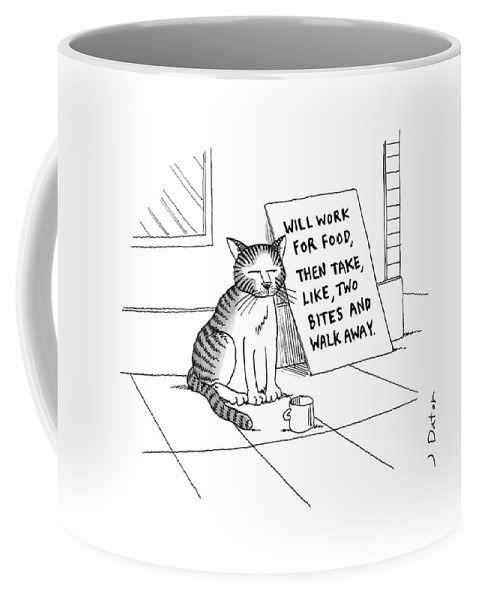Cat On Street With Sign That Reads Coffee Mug featuring the drawing New Yorker September 22nd, 2008 by Joe Dator