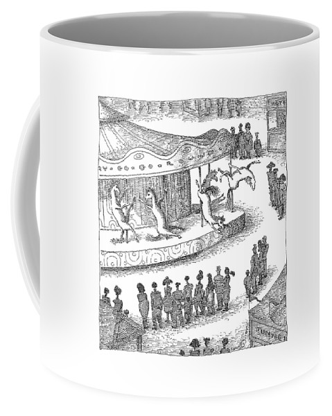 Captionless. Merry-go-round Coffee Mug featuring the drawing New Yorker June 1st, 2009 by John O'Brien