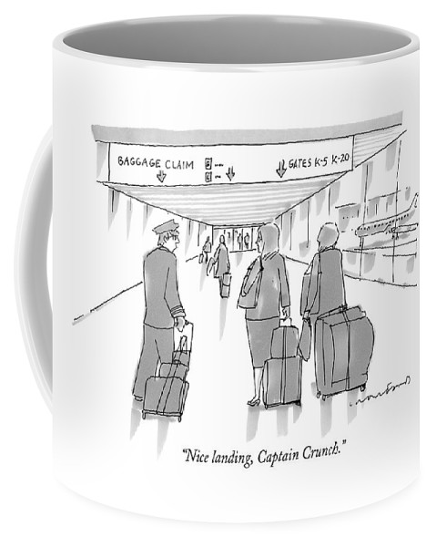 Airports Coffee Mug featuring the drawing Nice Landing by Michael Crawford