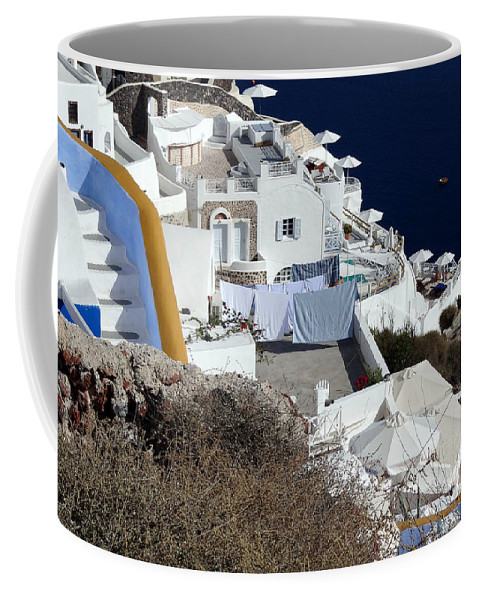 Santorini Coffee Mug featuring the photograph Views From Santorini Greece by Richard Rosenshein