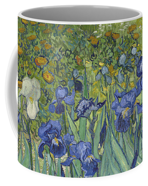 Irises Coffee Mug featuring the painting Irises, 1889 by Vincent Van Gogh by Vincent Van Gogh