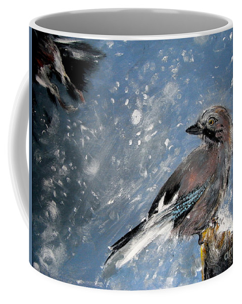 Jay Coffee Mug featuring the painting The Wintery Tales by Angel Ciesniarska