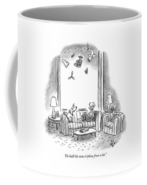 Incompetents Relationships Hobbies   (woman On Phone Coffee Mug featuring the drawing He Built His Own Airplane From A Kit by Frank Cotham