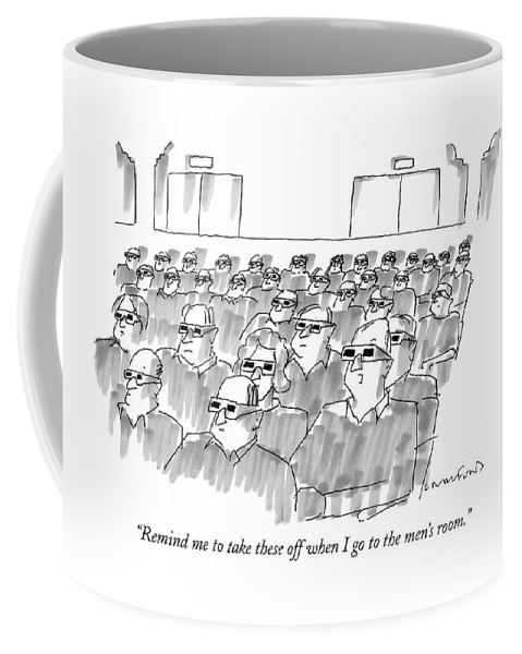 Senility Coffee Mug featuring the drawing Remind Me To Take These Off When I Go by Michael Crawford