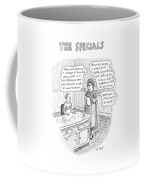 Food Dining Low Cuisine Service Restaurants Word Play  (waitress Reads Coffee Mug featuring the drawing The Specials by Roz Chast