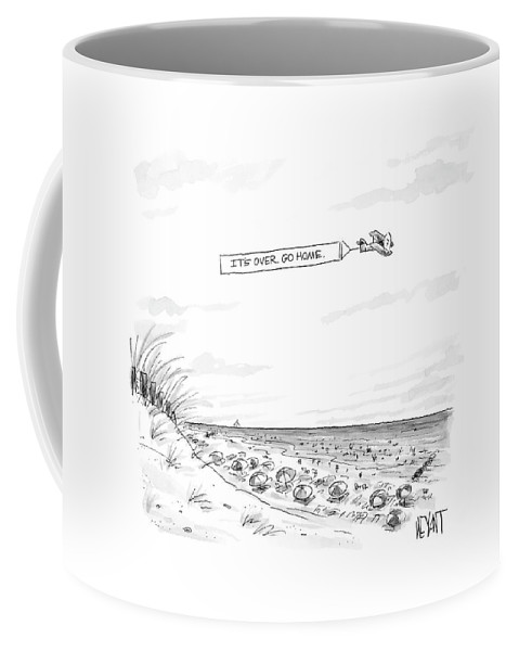 Seasons Summer Seashore  (plane Flying Over Crowded Beach With Message That Reads Coffee Mug featuring the drawing New Yorker September 12th, 2005 by Christopher Weyant