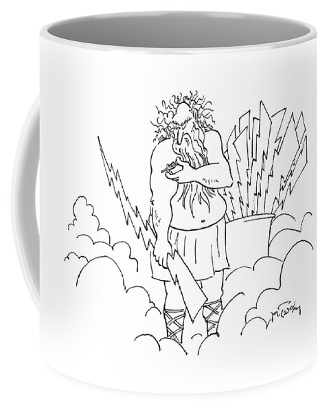 Zeus Coffee Mug featuring the drawing New Yorker January 21st, 2008 by Mike Twohy