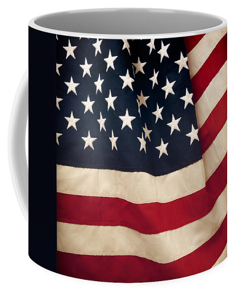 Closeup Coffee Mug featuring the photograph American Flag by Les Cunliffe