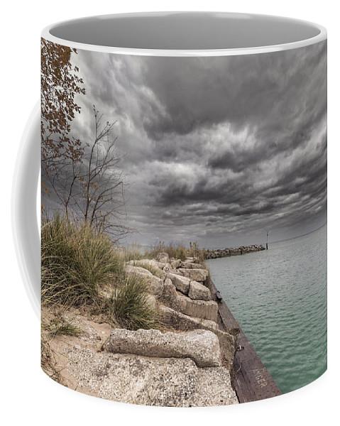 Lake Michigan Coffee Mug featuring the photograph Breakwater by Peter Lakomy