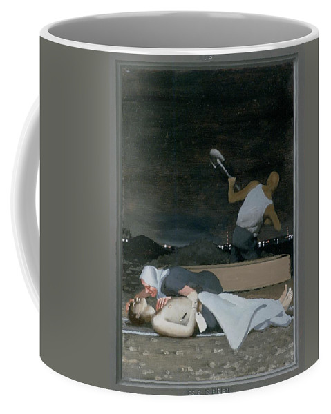 Jesus Coffee Mug featuring the painting 16. Jesus Is Buried / From The Passion Of Christ - A Gay Vision by Douglas Blanchard