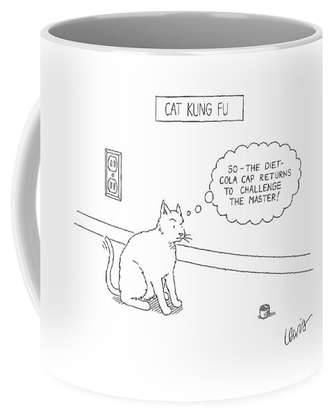 Cats Talking Interiors Sports Coffee Mug featuring the drawing Cat Kung Fu by Eric Lewis