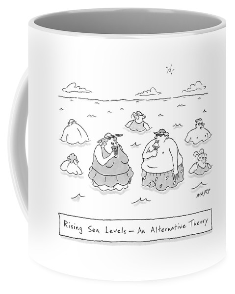 Vanity Coffee Mug featuring the drawing Rising Sea Levels - An Alternative Theory by Kim Warp