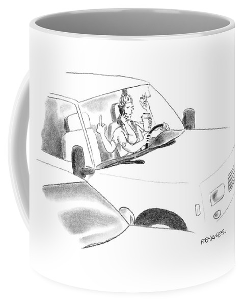 Multi-task Coffee Mug featuring the drawing New Yorker January 8th, 2007 by Pat Byrnes
