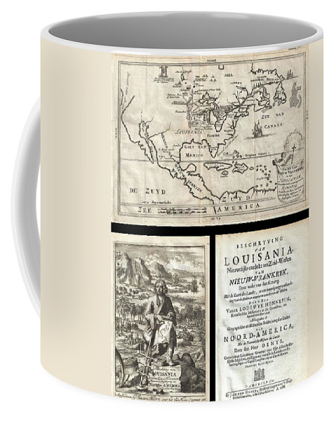 A Work That Fundamentally Impacted The Cartographic History Of America Coffee Mug featuring the photograph 1688 Hennepin First Book And Map Of North America by Paul Fearn