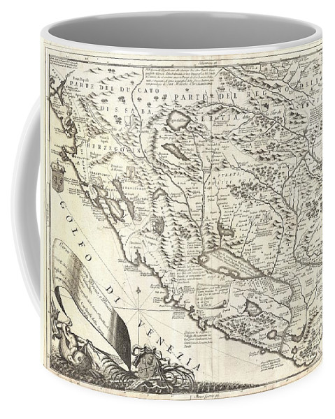 This Is Vincenzo Maria Coronelli's 1690 Map Of Montenegro. Covers The Dalmatian Coast From Dubrovnik To Gjiri I Drinit Coffee Mug featuring the photograph 1690 Coronelli Map Of Montenegro by Paul Fearn