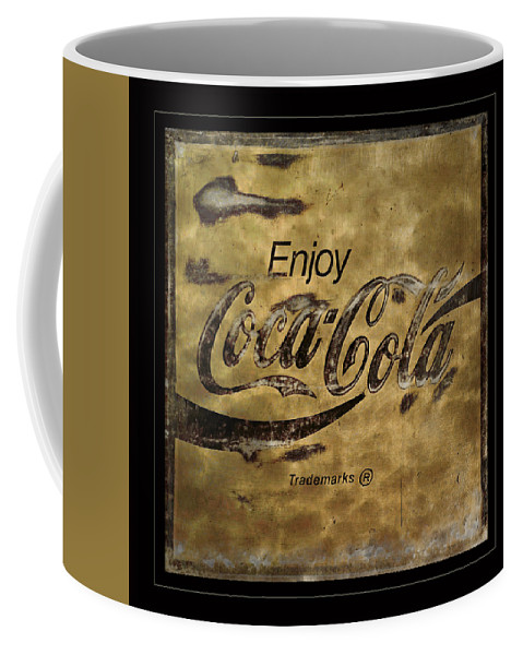 Coca Cola Coffee Mug featuring the photograph Coca Cola Sign Grungy Retro Style by John Stephens