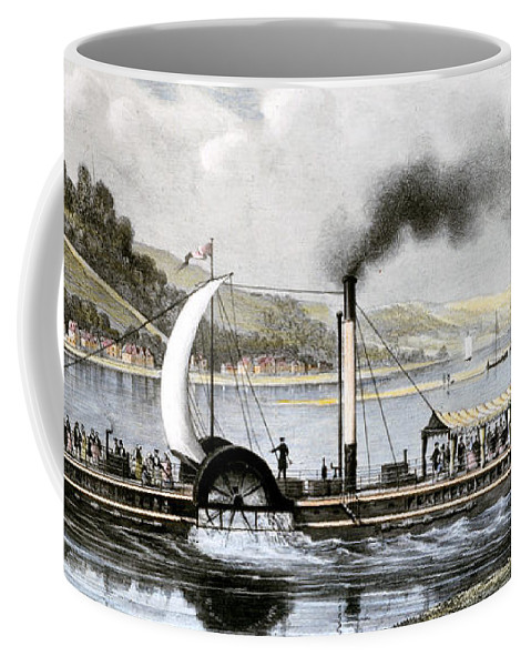 1813 Coffee Mug featuring the painting Robert Fulton's Clermont by Granger