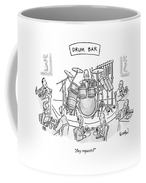 Drums Coffee Mug featuring the drawing Any Requests? by Robert Leighton