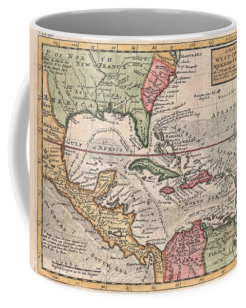 This Is Herman Molls Small But Significant C. 1732 Map Of The West Indies. Moll's Map Covers All Of The West Indies Coffee Mug featuring the photograph 1732 Herman Moll Map Of The West Indies And Caribbean by Paul Fearn