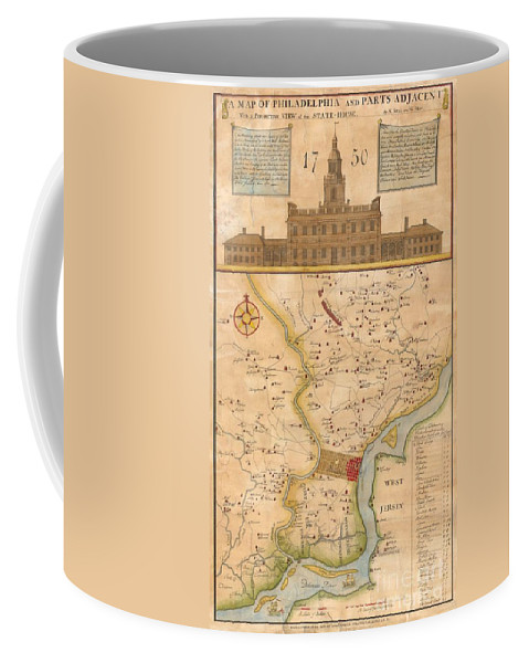 This Rare Map Is An 1850 Reprint Of An Important 1752 Map Originally Issued By N. Scull And G. Heap. George Heap Coffee Mug featuring the photograph 1752 Scull Heap Map Of Philadelphia And Environs by Paul Fearn