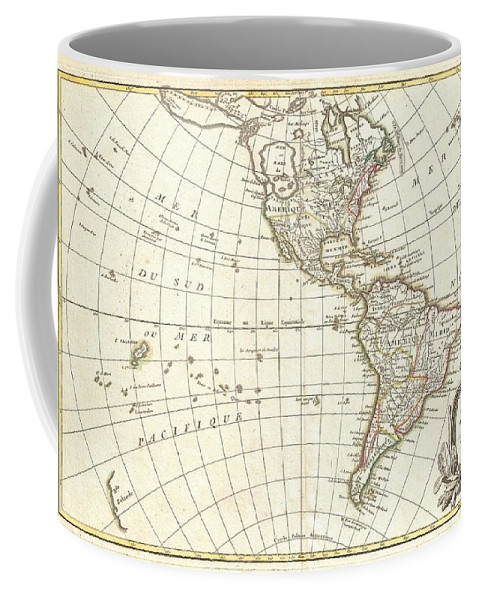 An Altogether Fascinating Map Of North America And South America By Jean Janvier Dating To 1862. Covers Both Continents From The Antarctic Circle To The Arctic Circle Coffee Mug featuring the photograph 1762 Janvier Map Of North America And South America by Paul Fearn