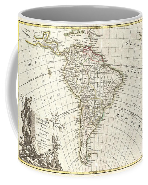 A Beautiful Example Of Jan Janvier's 1762 Decorative Map Of South America. Covers From The Island Of Hispaniola And The Yucatan South To Tierra Del Fuego And Cape Horn Coffee Mug featuring the photograph 1762 Janvier Map Of South America by Paul Fearn