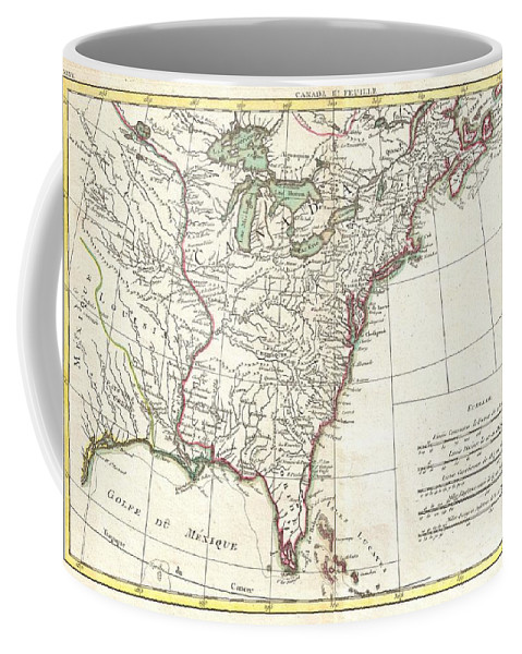Coffee Mug featuring the photograph 1776 Bonne Map Of Louisiana And The British Colonies In North America by Paul Fearn