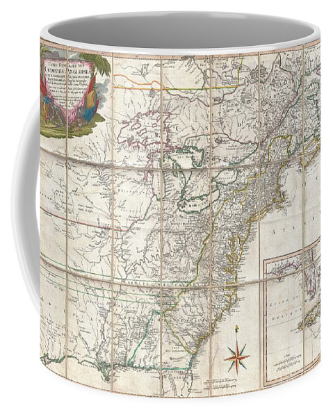 This Is An Important And Extremely Rare 1779 Case Map Of The English Colonies In In North America At The Height Of The American Revolutionary War. Focusing On The English Colonies Coffee Mug featuring the photograph 1779 Phelippeaux Case Map Of The United States During The Revolutionary War by Paul Fearn