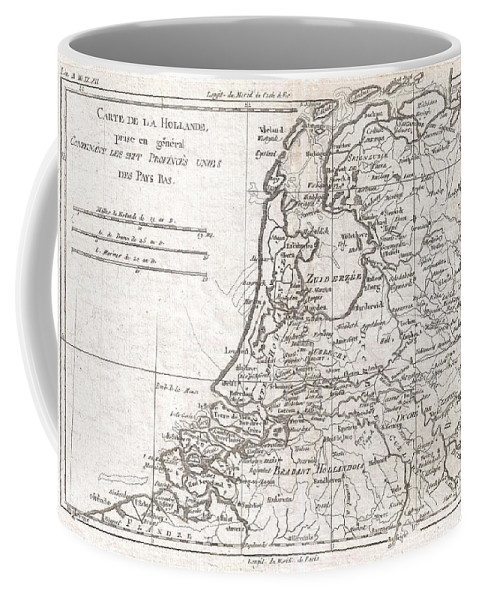 A Fine Example Of Rigobert Bonne And Guilleme Raynal's 1780 Map Of Holland. Shows Towns Coffee Mug featuring the photograph 1780 Raynal And Bonne Map Of Holland And Belgium by Paul Fearn