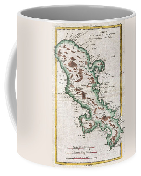 A Fine Example Of Rigobert Bonne And Guilleme Raynal's 1780 Map Of The Island Of Martinique. Highly Detailed Coffee Mug featuring the photograph 1780 Raynal And Bonne Map Of Martinique West Indies by Paul Fearn