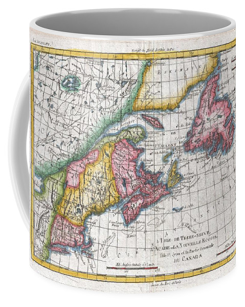 A Fine Example Of Rigobert Bonne And Guilleme Raynal's 1780 Map Of The Northeast United States And Eastern Canada. This Highly Detailed Map Covers The Eastern Coast Of The United States From A Portion Of New Jersey And New York In The South As Far North As The Canadian Maritime Provinces Of Nova Scotia Coffee Mug featuring the photograph 1780 Raynal And Bonne Map Of New England And The Maritime Provinces by Paul Fearn