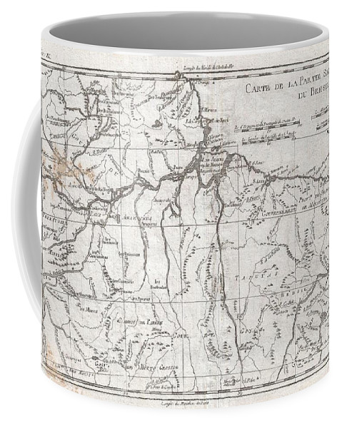 A Fine Example Of Rigobert Bonne And Guilleme Raynal's 1780 Map Of Northern Brazil. This Detailed Map Features The Northern Portion Of Brazil From Bahia To Guyana. This Also Includes A Portion Of The Amazon River And Its Adjancet Rainforest Coffee Mug featuring the photograph 1780 Raynal And Bonne Map Of Northern Brazil by Paul Fearn