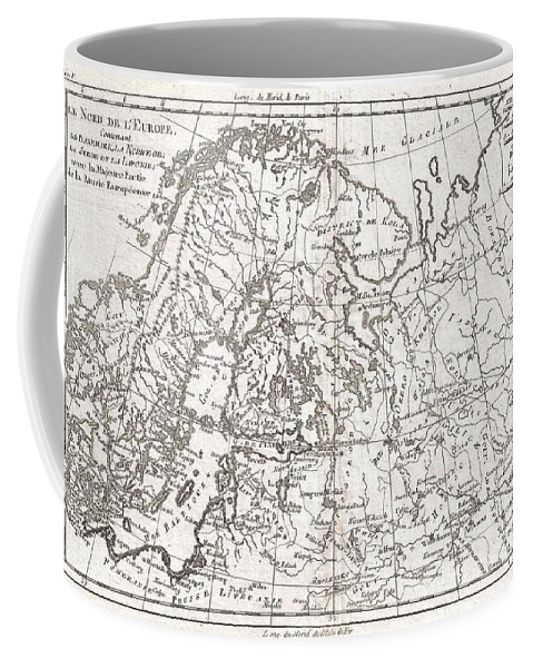 A Fine Example Of Rigobert Bonne And Guillaume Raynal's 1780 Map Of Northern Europe And European Russia. Covers The Modern Day Countries Of Norway Coffee Mug featuring the photograph 1780 Raynal And Bonne Map Of Northern Europe And European Russia by Paul Fearn