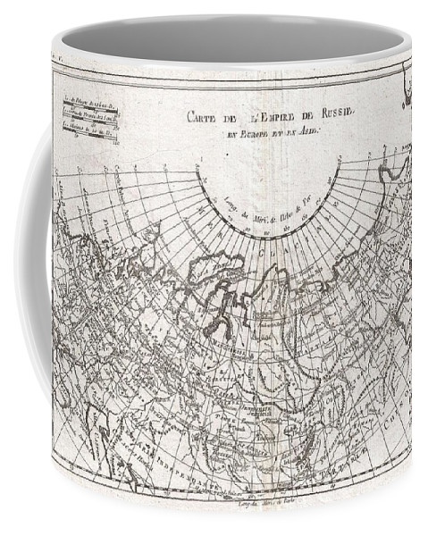 A Fine Example Of Rigobert Bonne And Guillaume Raynal's 1780 Map Of The Russian Empire. Shows Entire Russian Empire Stretching From Europe To The Behring Strait Coffee Mug featuring the photograph 1780 Raynal And Bonne Map Of Russia by Paul Fearn