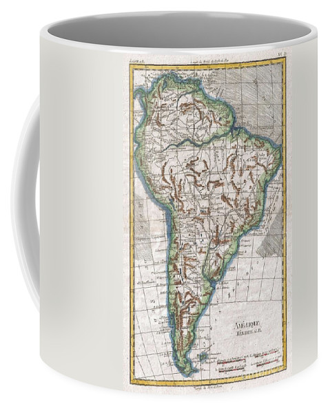A Fine Example Of Rigobert Bonne And Guillaume Raynal's 1780 Map Of South America. Highly Detailed Coffee Mug featuring the photograph 1780 Raynal And Bonne Map Of South America by Paul Fearn
