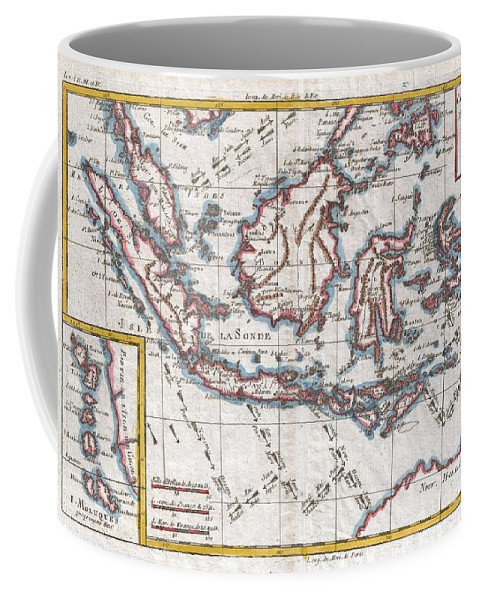 1780 Raynal And Bonne Map Of The East Indies Singapore Coffee Mug featuring the photograph 1780 Raynal And Bonne Map Of The East Indies Singapore Java Sumatra Borneo by Paul Fearn