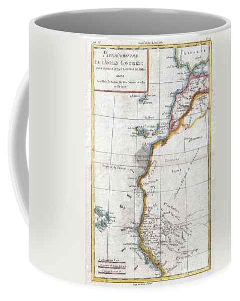 A Fine Example Of Rigobert Bonne And G. Raynal's 1780 Map Of Western Africa. This Area Corresponds To Modern Day Morocco Coffee Mug featuring the photograph 1780 Raynal And Bonne Map Of Western Africa by Paul Fearn
